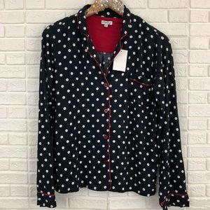 PJ Salvage black polka dot pajama top shirt NEW